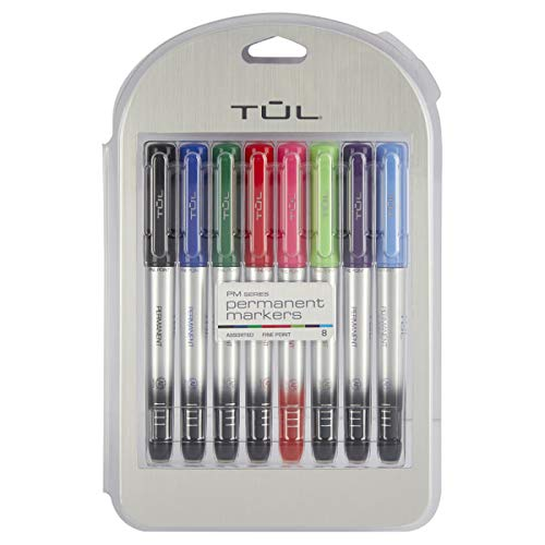 TUL Permanent Markers, Fine Point, Silver Barrel, Assorted Ink Colors, Pack of 8 Markers