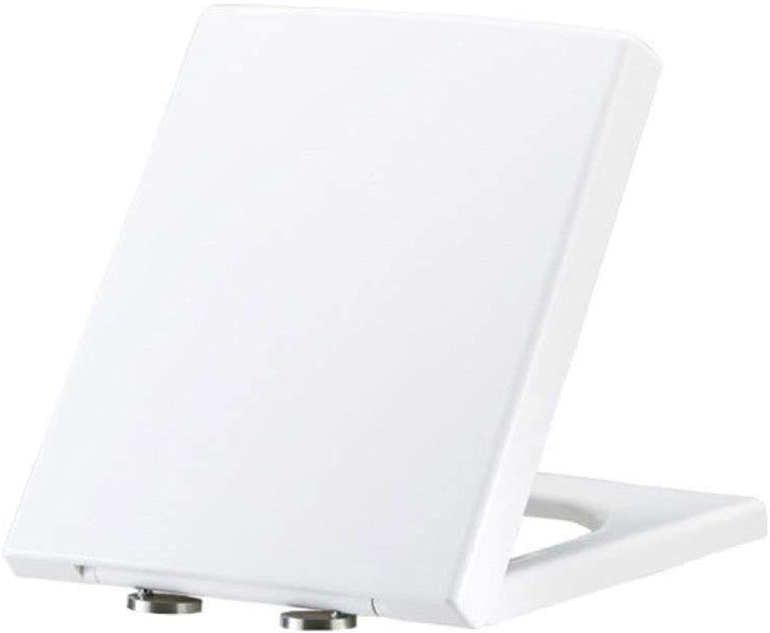 Toilet Lid Toilet Seats, Square Toilet Seat Descending Mute Removable Hinge Thickening Used For Bathroom And Washroom,White-4145  35.8cm
