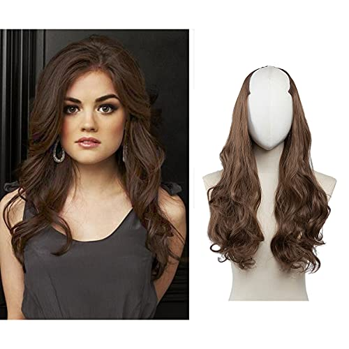 Medium Brown U Part Hair Extensions Clip in on Full Head Long Curly Wave Synthetic Hair Pieces for Women 24 Inch SARLA UH17&8#