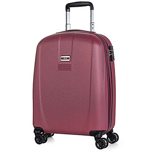 JASLEN - Maleta Cabina Avion Pequeña con Ruedas Rígida Hombre Mujer. 4 Ruedas Trolley. Equipaje de Mano. Candado de Seguridad TSA 56550, Color Vino