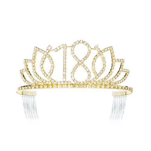 DcZeRong Princess Sweet Girls 18 Birthday Tiara Crown Gold Rhinestone Crystal Diamond Crown Tiara