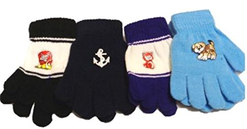 Set of Four Pairs Multicolor Magic Gloves for Infants and Toddlers Ages 1-4 Years