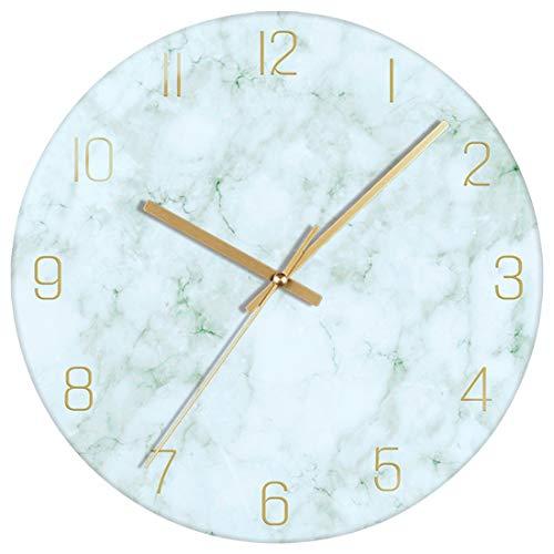 VIKMARI Glas Wanduhr, 30 cm Leise Nicht Tickend Batteriebetriebene Marmor Wanduhren, Runde Vintage Grün Wanduhr für Küche Wohnzimmer Schlafzimmer