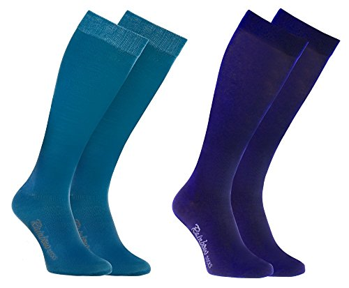 Rainbow Socks - Hombre Mujer Altos Calcetines Largos Hasta de Rodilla de Algodón - 2 Pares - Jeans 1x Morado - Talla 44-46