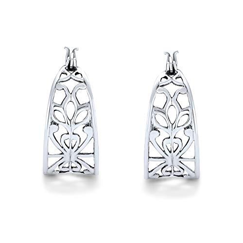 Boho Bali Stil Öffnen Filigrane Natur Blatt Breite Runde Creolen Für Frauen Für Teen 925 Sterling Silber