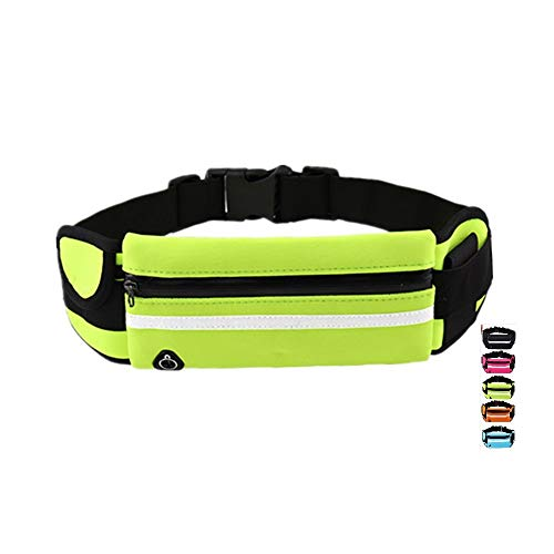 XIGUTI Slim Running Belt Fitness Workout Exercise Waist Bag Pack for iPhone Samsung Android Phones, Running Cycling Gym Marathon for Men and Women (Green)