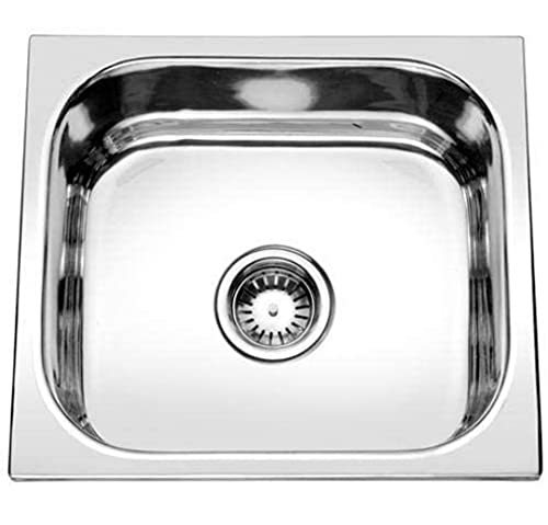 NIRMAL 18'' x 16'' x 8'' Single Bowl Stainless Steel Heavy Kitchen Sink With Chrome Finish including Waste Coupling and Waste Pipe