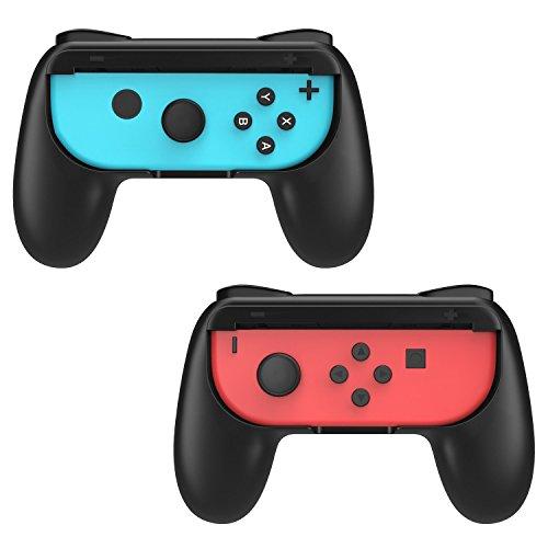 Switch Joy-Con グリップ ATiC ジョイコン ハンドル ニンテンドースイッチ グリップ 人間工学 耐衝撃 疲労軽減 握りやすい 素早く反応 ハンドル グリップ ケース カバー 着脱簡単 高品質 任天堂Switch ハンドル 「二個セット」 BLACK