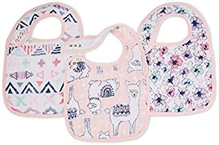 aden + anais Classic Snap Bib; 100% Cotton Muslin; Soft Absorbent 3 Layers; Adjustable; 9'' X 13''; 3 Pack; Trail Blooms