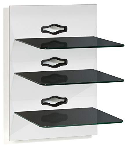 VCM Paneel Hifi Halterung Receiver DVD-Player Möbel Konsole Wandregal Weiß/Schwarzglas