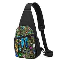 多くの蝶スリングバックパック軽量胸スリングバッグ因果ファニーパック多目的デイパック旅行ハイキングアウトドアスポーツ用防水胸パック