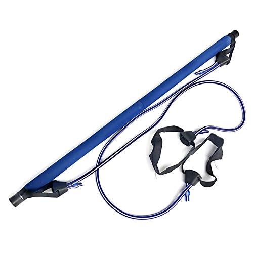 YNLRY Barra de pilates con banda de resistencia, gimnasio, yoga, sentadillas, para entrenamiento eficaz de entrenamiento, color azul
