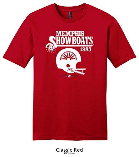 Throwbackmax 1983 USFL Memphis Showboats Football Tee Shirt (3X, Classic Red)