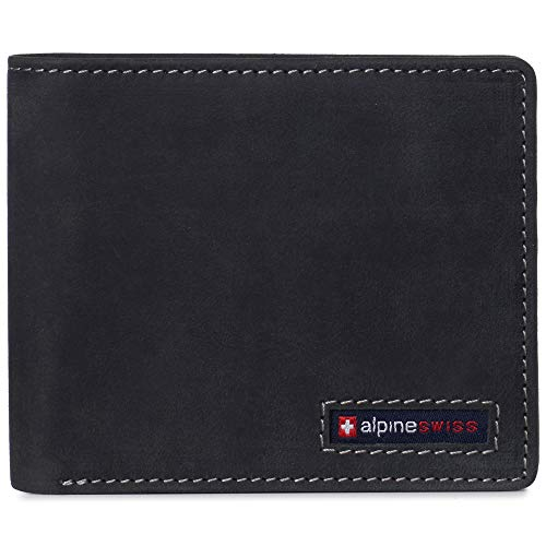 Alpine Swiss Nolan Mens RFID Protected Bifold Wallet Genuine Leather Comes in a Gift Box Charcoal