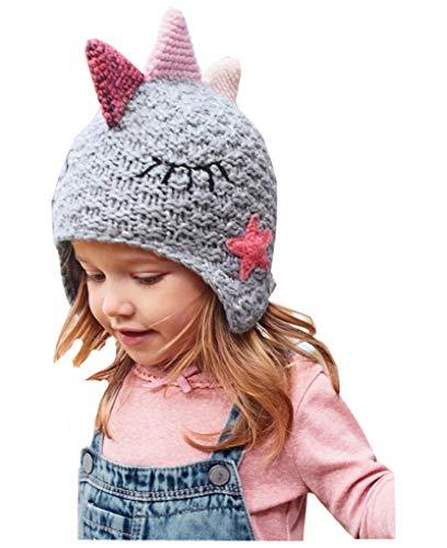 Moonlove - Gorro de punto de dinosaurio para bebé y niña, gorro de invierno para protección de oídos de doble capa, gorro cálido para niños de 1 a 5 años de edad, regalo de Navidad o cumpleaños
