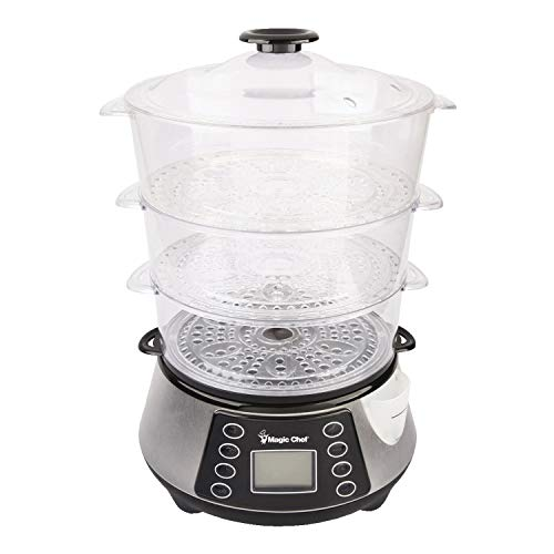 Magic Chef MCSFS12ST 3 Tier Food Steamer, 9.4X 15.4 X16.1, Stainless Steel