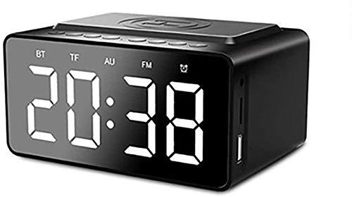Bluetooth FM Digital Radio Despertador Radio de cabecera con Qi almohadilla de carga inalámbrica para teléfonos inteligentes y pantalla LCD con brillo automático Calendario de fecha Puerto USB