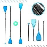 Bluefin SUP Fiberglas-Paddel | Karbonfaser | Paddel für SUP & Kayak | 3-teilig | Längenverstellbar | Leichtgewichtig | Hybrid | 170 cm - 220 cm | Schwarz/Blau