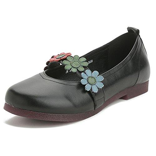 gracosy Zapatos Planos Bajos Flores Merceditas para Mujer, Sandalias Planas de tacón bajo con Comodidad en el Exterior Zapatos primaverales de Verano para Zapatos Bajos de mocasín Planas para Mujer