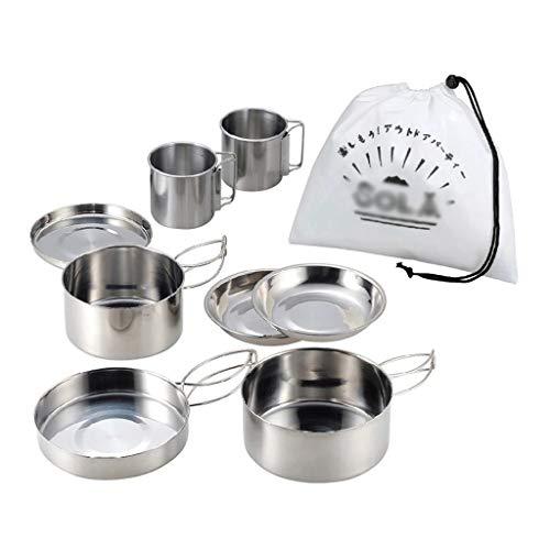 ECSWP HWCJYYL 8pcs Set de Cacerola al Aire Libre Set de Acero Inoxidable Potes de apilamiento Senderismo Pot Camping Utensilios de Cocina No-Stick Picnic Cooking Bowl Pot Kit