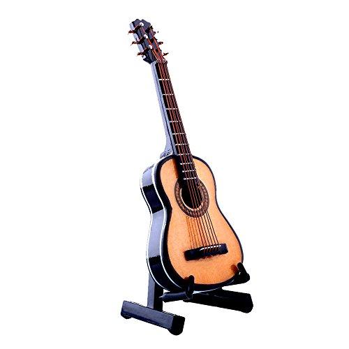 TOPmountain Mini Holz Gitarre-Mini Handheld Klassische Gitarre Spielzeug Miniatur Musikinstrumente Sammlung Holz Dekorative Ornamente/Geschenk mit Stand Unterstützung und Fall