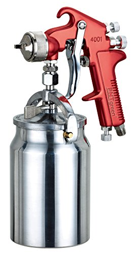 PNTGREEN HVLP Spray Gun, Siphon Feed, Red Handle, 34 oz -1.8mm Nozzle for a Variety of Low Viscosity Paints, Such as Lacquer, Enamel, Stain, Urethane with air Flow and Paint Pattern Control knob