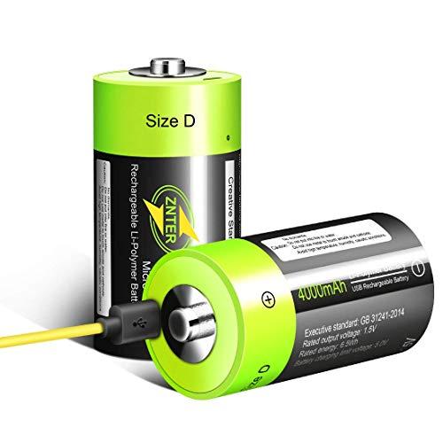HITRENDS D Zellen Akku - Wiederaufladbare USB Lithium D Batterien - 1,5 V / 4000 mAh (2er-Pack) - Nicht NI-MH/NI-CD/Alkaline-Batterien - ECO-Freundlich und Recycelbar - Kein Memory-Effekt