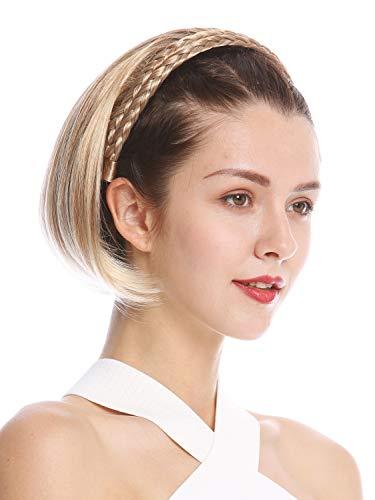 WIG ME UP - 90606-27T613 Halbperücke Haarteil edel geflochtener Haarreif kurz schulterlang glatt Blond gesträhnt
