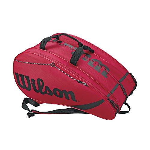 Wilson Rak Pak Bolsa de pádel, hasta 6 palas, puede usarse como mochila, Unisex, Rojo/Negro