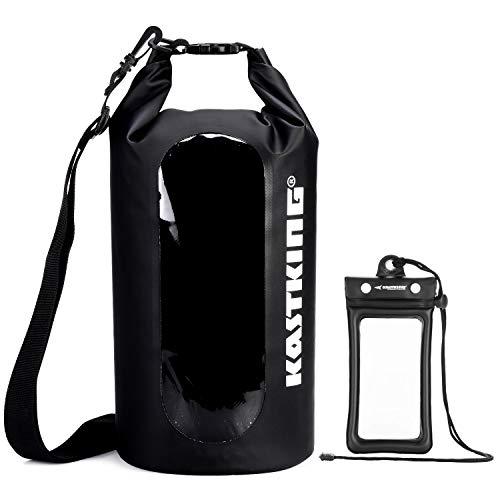 KastKing Floating Waterproof Dry Bag, Black Dry Bag Combo, 20L