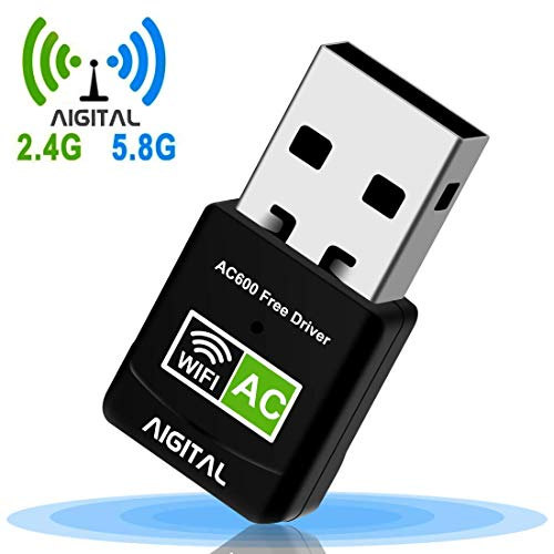 Aigital Adaptador WiFi USB 600Mbps Mini WiFi dongle Receptor Dual Band 2.4G/5GHz, Driver Free-Auto,para PC/Desktop/Laptop Plug and Play Soporta 10/8/7/Vista/XP, No Hay Disco CD Necesaria