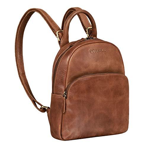 STILORD 'Ruby' Daypack Damen Leder Rucksack Kleiner Lederrucksack Vintage Rucksackhandtasche Cityrucksack für Ausgehen Shopping Tagesrucksack S Echtleder, Farbe:Andorra - braun