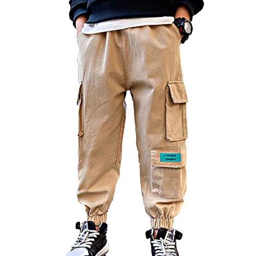 easyforever Boys Solid Color Cargo Pants Athletic Sports Casual Jogger Dungarees Trousers Hip Hop Dance Sweatpants Khaki C3 12 Years