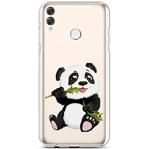 Hpory Housse de Protection Huawei Honor 8X Coque Silicone Transparent Ultra Fine TPU Silicone Bumper Case Étui de Couleur Cristal Clear Souple Slim Antichoc Cover,Panda#02
