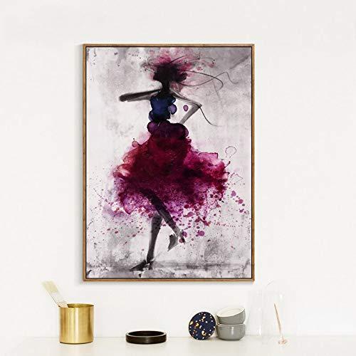 Geiqianjiumai Moderne tänzerin mädchen Kleid abstrakte aquarell leinwand malerei wandkunst druckplakat Bild Dekoration Moderne Familie wandaufkleber rahmenlose malerei 50x70 cm
