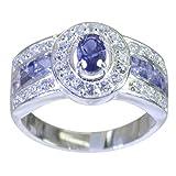 joyas plata anillos de iolita facetados de múltiples formas de piedras preciosas naturales - anillo de iolita azul de plata de ley 925 - nacimiento de febrero acuario