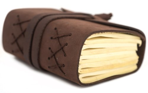 """INDIARY Luxury Wild Leather Bound Journal 100% Cotton Handcrafted Paper 5x4"""" - WILD A6 - Brown Photo #8"""