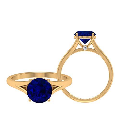 Anillo solitario, oro amarillo de 14 quilates, 8 mm, anillo de zafiro azul de 8 mm, anillo de boda catedral, anillo de vástago dividido, oro amarillo de 14 quilates, talla UK Y
