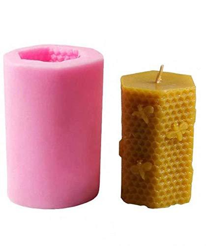 SSyang 3D Bee Honeycomb Candle Moldes de silicona de colmena para velas caseras de cera de abeja,jabón,loción de manos,cera derretida,hives,barras de loción