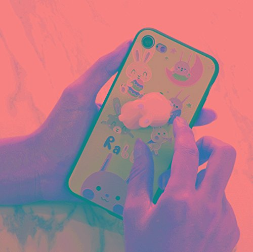 Accesorios para teléfonos móviles Para iPhone 6 Plus y 6S PLUS 3D Patrón de dibujos animados de conejo encantador 3D Squespe Relieve IMD mano de obra Squishy Drop a prueba de espalda Funda Casos cubre