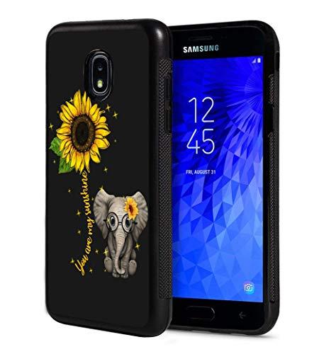 Galaxy J7 2018/J7 V 2018/J7 Refine/J7 Star Case, Slim Anti-Scratch TPU Rubber Protective Case Cover for Samsung Galaxy J7 2018 - Sunflower and Elephant