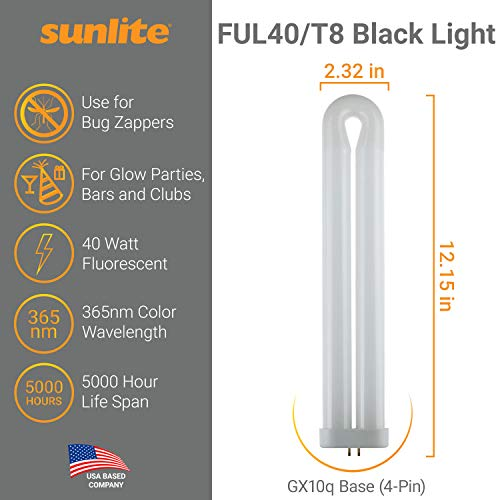 SUNLITE 40487-SU FUL40T8 Fluorescent Black Light Bulbs, 40 Watts, GX10q 4-Pin Base, UV Light, 365nm Color Wavelength, 5,000 Hour Life Span, Perfect for Bug Zappers, Clubs, Restaurants, Bars, 1 piece