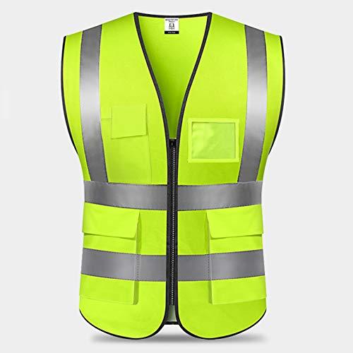 Chaleco Reflectante de Seguridad,Chaleco de Seguridad Fluorescente,Alta Visibilidad Chaleco Reflectante de Seguridad con Bolsillos y Cremallera para Trabajos al Aire Libre,Caminar-Unisex/Verde