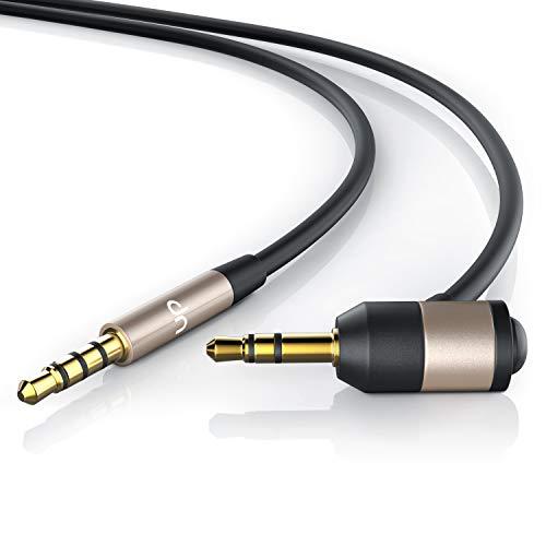 Cable Jack de 1m con micrófono - Audio Kit de Manos Libres para Coche micrófono PC Auriculares - con botón multifunción Integrado - Cable de conexión AUX - Manos Libres para el Coche