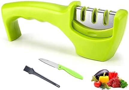 SP-Cow Afilador de Cuchillos, Afilador Cuchillos Profesional de 3 Etapas, Afilador de Cuchillos Manual, Afilador de Cuchillos de Cocina, con Cuchillo de frutas y Cepillo de Limpieza
