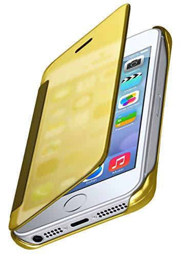 MoEx® Funda Protectora Fina Compatible con iPhone 5S / 5 / SE (2016) | Cristal Tintado Transparente, doré