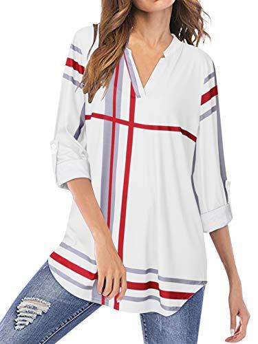 YOINS Blusa Mujer Manga Larga Camiseta Cuello V Camisa Elegante Túnica Casual SueltoTops Otoño Invierno Blanco-01 EU36-38