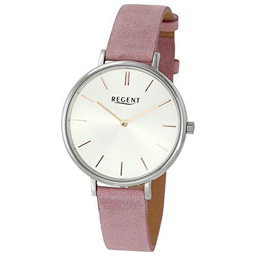 Regent de mujer reloj de pulsera elegante Analog de piel pulsera color rosa Reloj de cuarzo esfera color blanco plata ur2153132