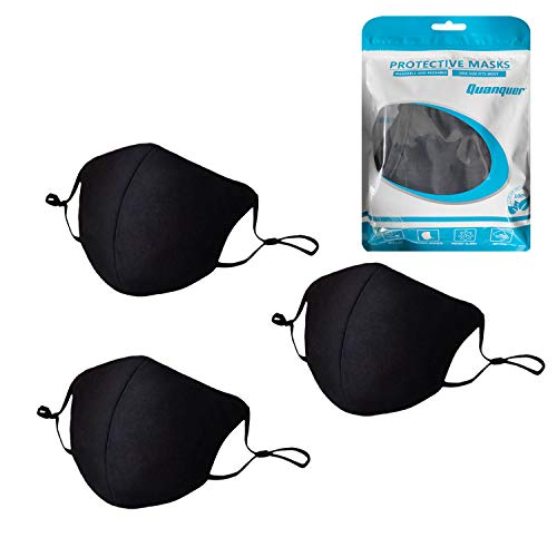 3 Pack Unisex Mouth Mask Adjustable Anti Dust Face Mouth Mask, Black Polyester Face Mask - 100% Polyester, Washable, Reusable Cloth Masks - Protection from Dust, Haze, Pollen, Other Airborne Irritants