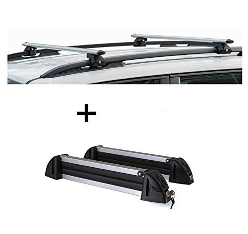 VDP Barras portaequipajes CRV120A + portaesquís/portaesquís/soporte para esquís de aluminio, 4 pares de esquís compatibles con Hyundai H-1 97
